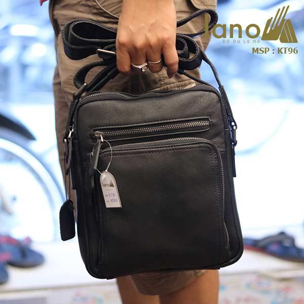 Túi da đeo chéo Lano dạng hộp đẳng cấp lịch lãm KT96 đen - xách tay