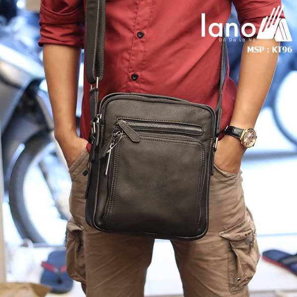 Túi da đeo chéo Lano dạng hộp đẳng cấp lịch lãm KT96 đen - đeo chéo