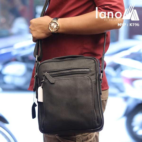 Túi da đeo chéo Lano dạng hộp đẳng cấp lịch lãm KT96 đen - đeo vai