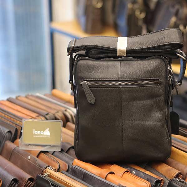 Túi da đeo chéo Lano dạng hộp đẳng cấp lịch lãm KT96 đen - mặt sau