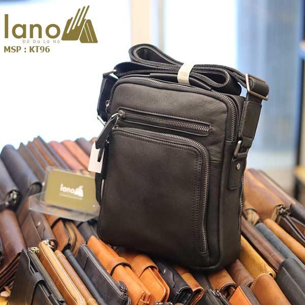 Túi da đeo chéo Lano dạng hộp đẳng cấp lịch lãm KT96 đen - nghiêng