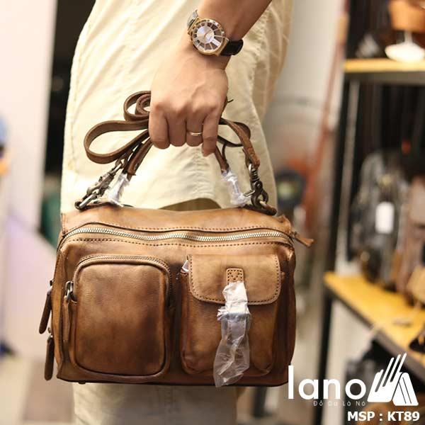 Túi da đeo chéo Lano gọn nhẹ tiện lợi KT89 - xách tay