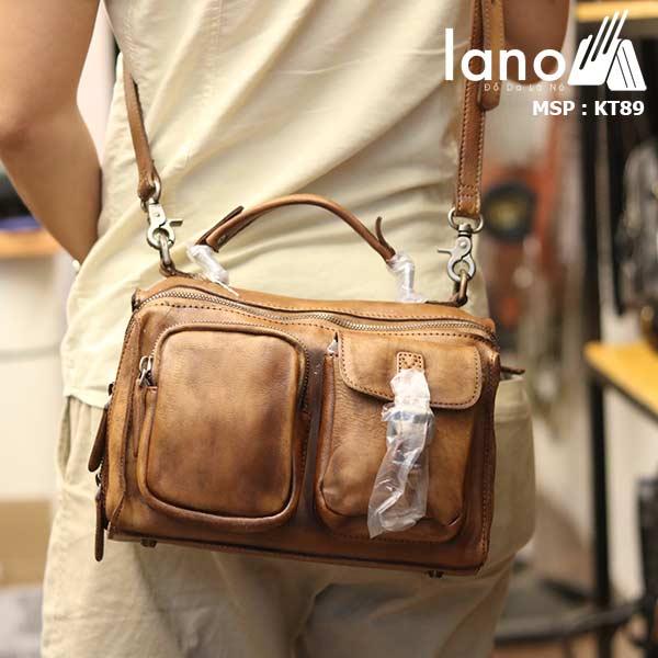 Túi da đeo chéo Lano gọn nhẹ tiện lợi KT89 - đeo lưng
