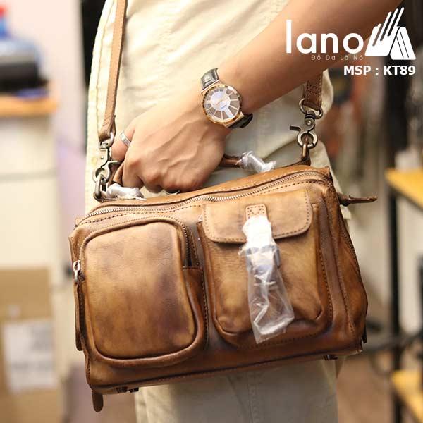 Túi da đeo chéo Lano gọn nhẹ tiện lợi KT89 - đeo vai