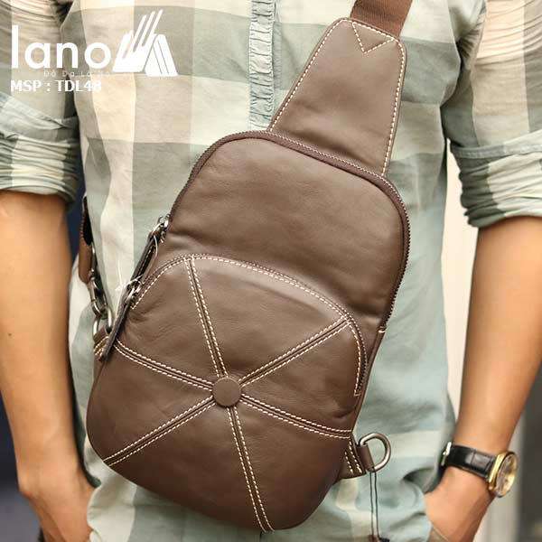 Túi da đeo chéo ngực nam Lano nhỏ gọn tiện lợi TDL48 nâu - đeo trước ngực