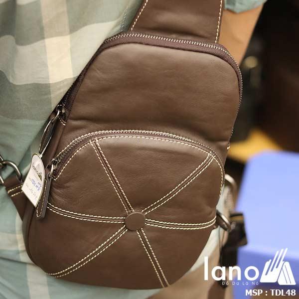 Túi da đeo chéo ngực nam Lano nhỏ gọn tiện lợi TDL48 nâu - đeo lưng