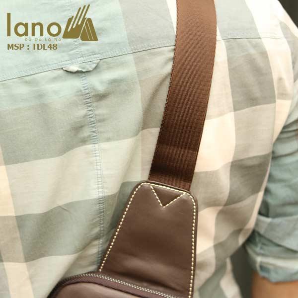 Túi da đeo chéo ngực nam Lano nhỏ gọn tiện lợi TDL48 nâu