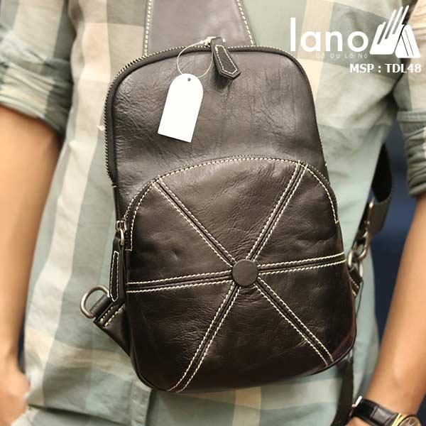 Túi da đeo chéo ngực nam Lano nhỏ gọn tiện lợi TDL48 đen - đeo trước ngực