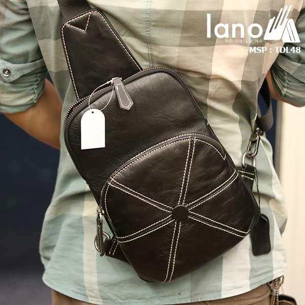 Túi da đeo chéo ngực nam Lano nhỏ gọn tiện lợi TDL48 đen - đeo lưng