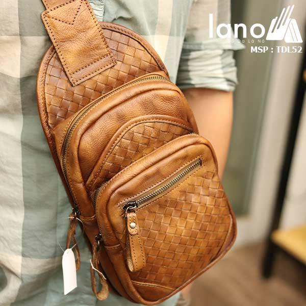 Túi da đeo ngực nam Lano thời trang sang trọng đẳng cấp cho phái mạnh TDL52