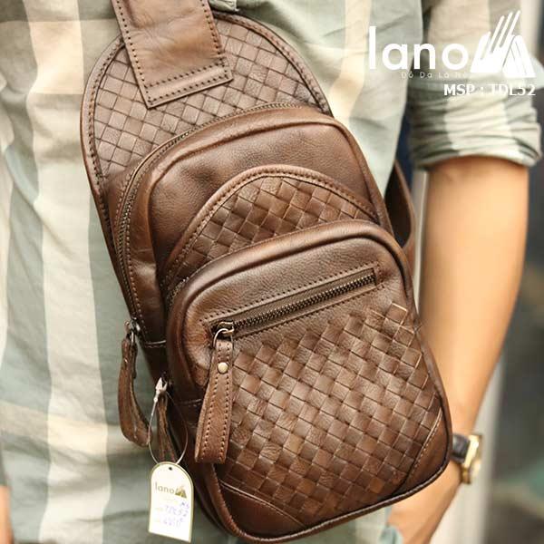 Túi da đeo ngực nam Lano thời trang sang trọng đẳng cấp cho phái mạnh TDL52 nâu - đeo trước ngực