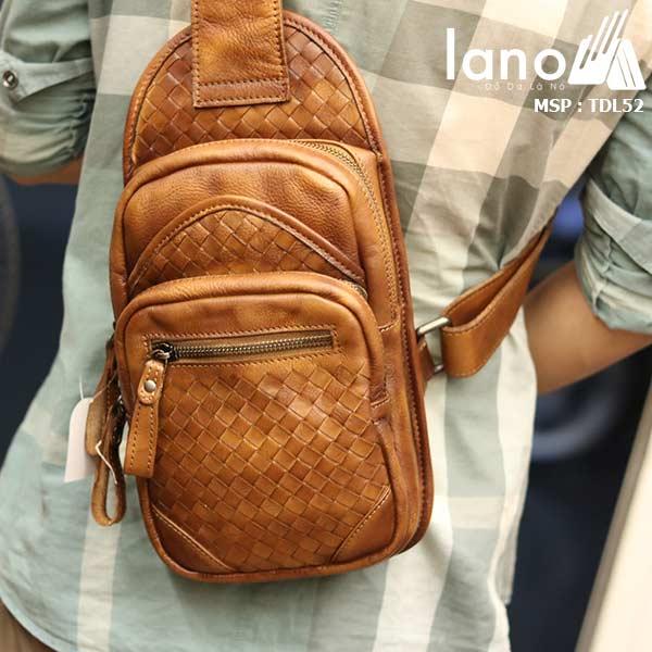 Túi da đeo ngực nam Lano thời trang sang trọng đẳng cấp cho phái mạnh TDL52 - đeo lưng