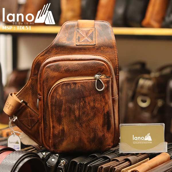 Túi da đeo ngực nam phong cách Lano thời trang gọn nhẹ TDL51