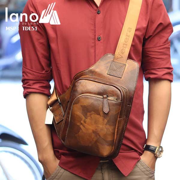 Túi da đeo ngực nam phong cách Lano thời trang gọn nhẹ TDL51 - đeo trước ngực