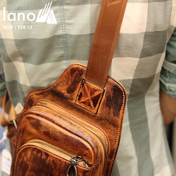 Túi da đeo ngực nam phong cách Lano thời trang gọn nhẹ TDL51 - đeo lưng
