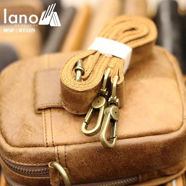 Túi da Lano đeo chéo nam giá rẻ KT109 vàng bò - mặt sau