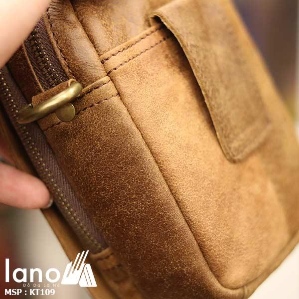 Túi da Lano đeo chéo nam giá rẻ KT109 vàng bò - mặt cạnh
