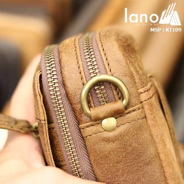 Túi da Lano đeo chéo nam giá rẻ KT109 vàng bò - khóa ngăn