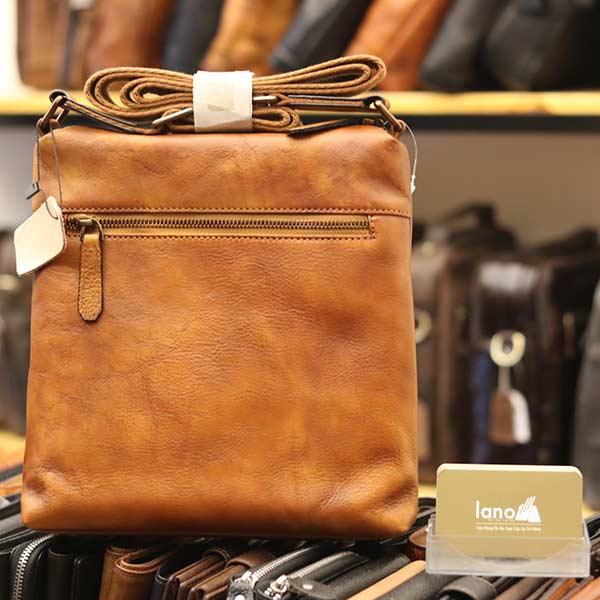 Túi da nam đeo chéo đựng iPad Lano thời trang công sở KT93 nâu vàng - mặt sau