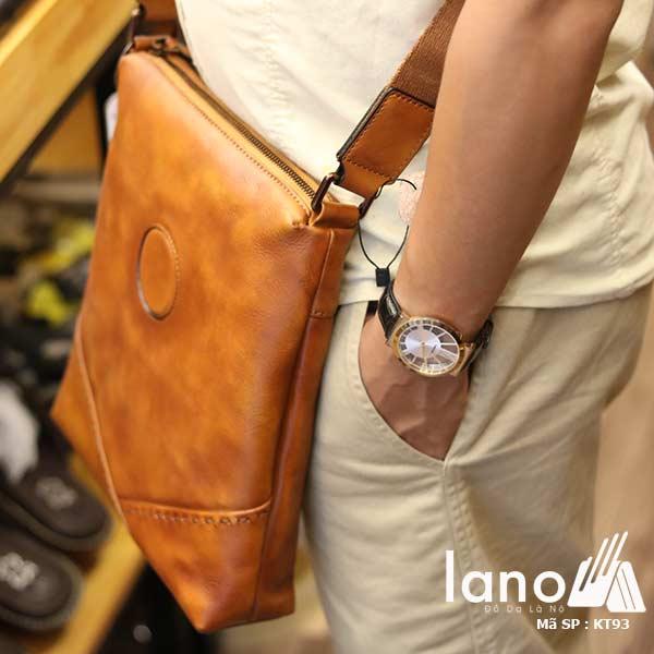 Túi da nam đeo chéo đựng iPad Lano thời trang công sở KT93 nâu vàng