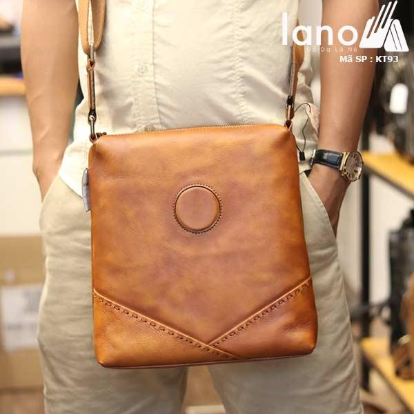 Túi da nam đeo chéo đựng iPad Lano thời trang công sở KT93 nâu vàng - đeo trước