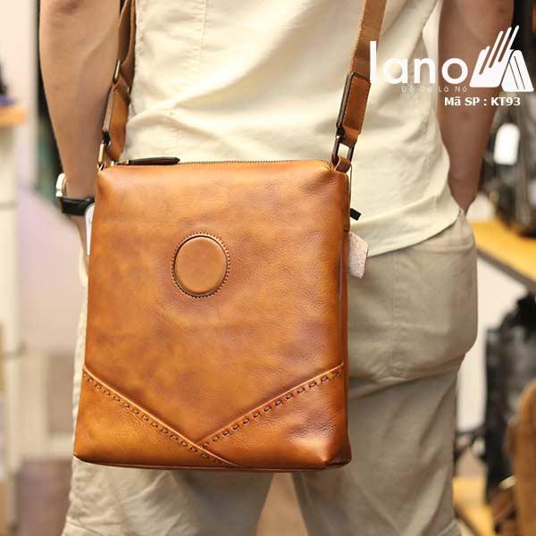 Túi da nam đeo chéo đựng iPad Lano thời trang công sở KT93 nâu vàng - đeo sau lưng