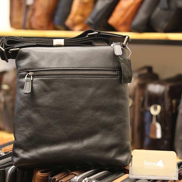 Túi da nam đeo chéo đựng iPad Lano thời trang công sở KT93 đen - mặt sau