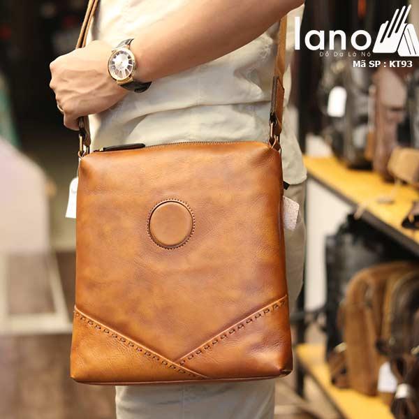 Túi da nam đeo chéo đựng iPad Lano thời trang công sở KT93 nâu vàng - đeo vai
