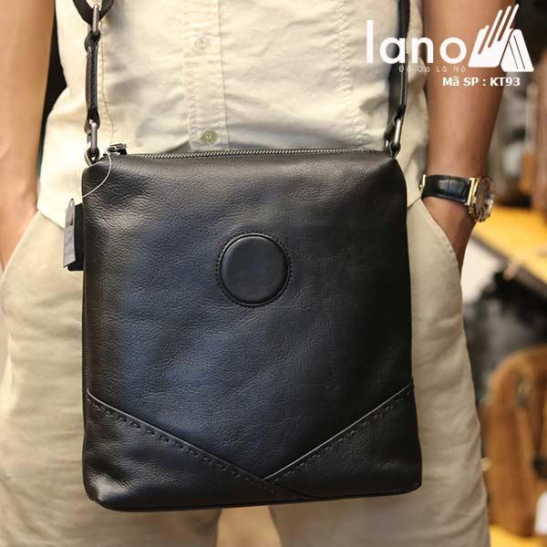 Túi da nam đeo chéo đựng iPad Lano thời trang công sở KT93 đen - đeo trước