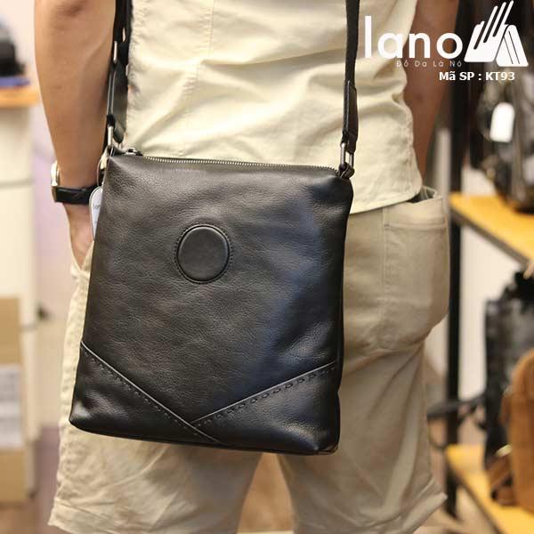 Túi da nam đeo chéo đựng iPad Lano thời trang công sở KT93 đen - đeo sau lưng