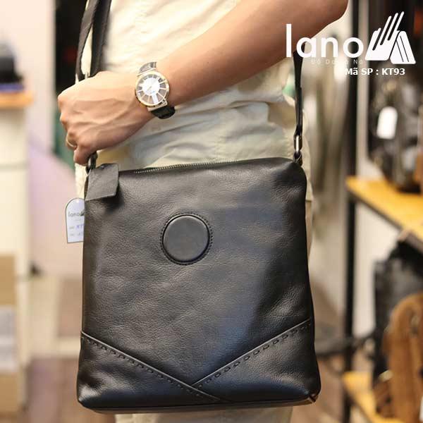 Túi da nam đeo chéo đựng iPad Lano thời trang công sở KT93 đen - đeo vai
