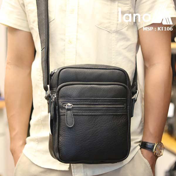 Túi da nam đeo chéo giá rẻ Lano sang trọng thời trang KT106 đen - đeo chéo trước