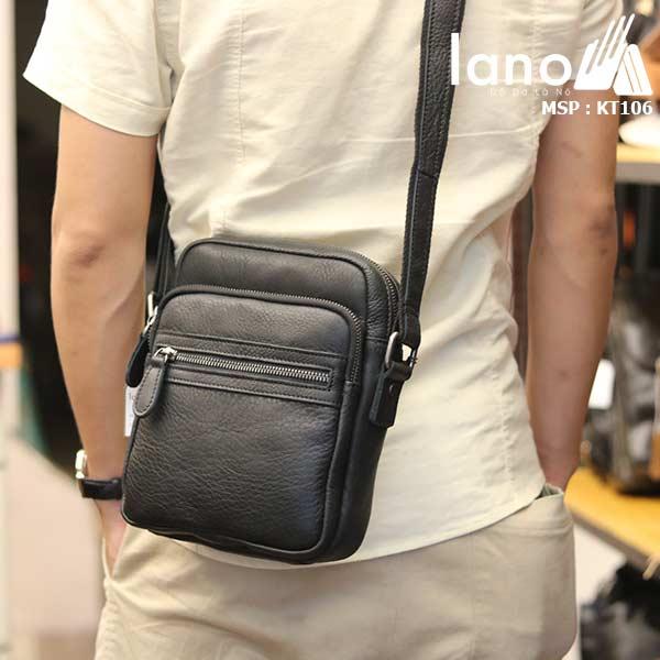 Túi da nam đeo chéo giá rẻ Lano sang trọng thời trang KT106 đen - đeo lưng
