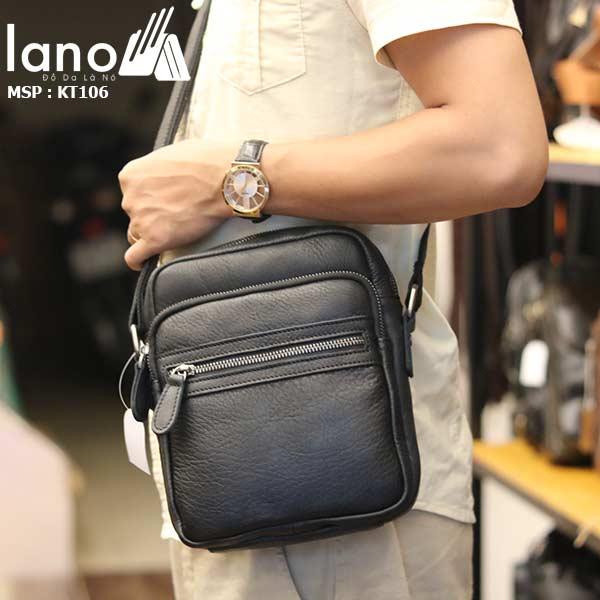Túi da nam đeo chéo giá rẻ Lano sang trọng thời trang KT106 đen - đeo chéo