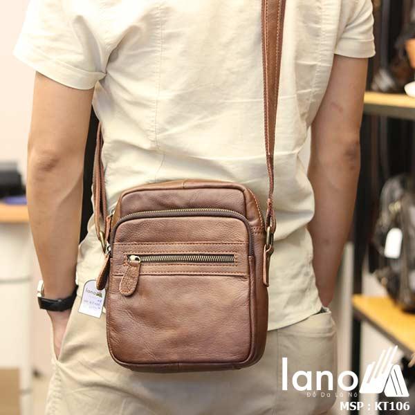 Túi da nam đeo chéo giá rẻ Lano sang trọng thời trang KT106 nâu - đeo lưng