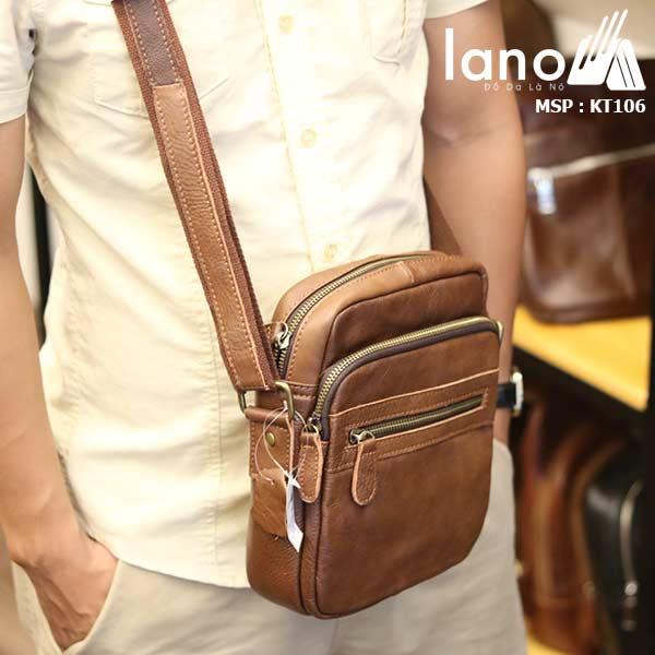Túi da nam đeo chéo giá rẻ Lano sang trọng thời trang KT106 nâu - đeo trước