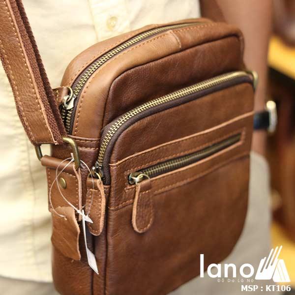 Túi da nam đeo chéo giá rẻ Lano sang trọng thời trang KT106 nâu - đeo chéo