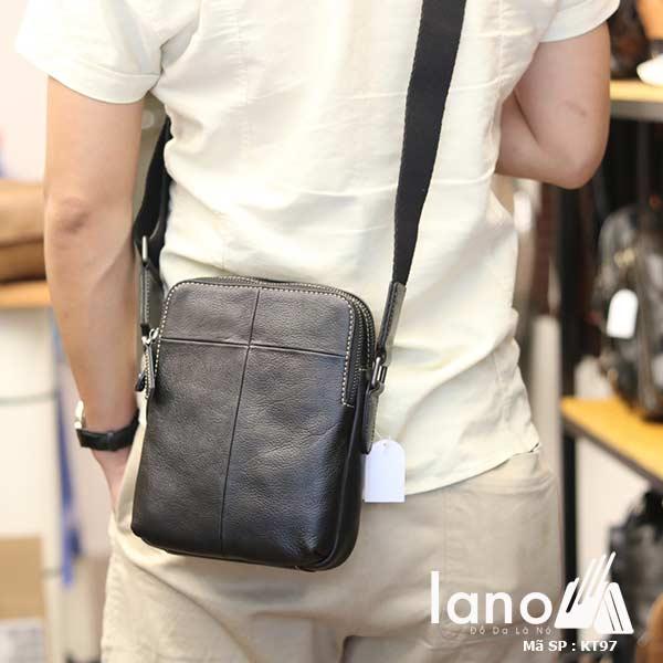 Túi da nam đeo chéo Lano gọn nhẹ sang trọng lịch lãm KT97 đen - đeo lưng