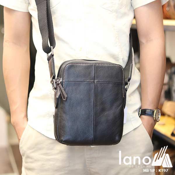 Túi da nam đeo chéo Lano gọn nhẹ sang trọng lịch lãm KT97 đen - đeo trước