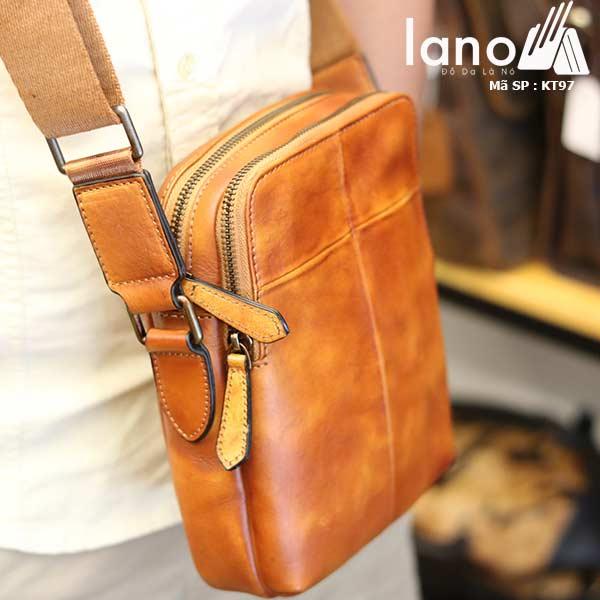 Túi da nam đeo chéo Lano gọn nhẹ sang trọng lịch lãm KT97 nâu vàng - đeo chéo