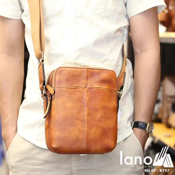 Túi da nam đeo chéo Lano gọn nhẹ sang trọng lịch lãm KT97 nâu vàng - đeo trước