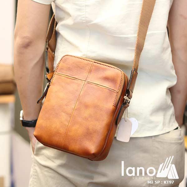 Túi da nam đeo chéo Lano gọn nhẹ sang trọng lịch lãm KT97 nâu vàng - đeo lưng