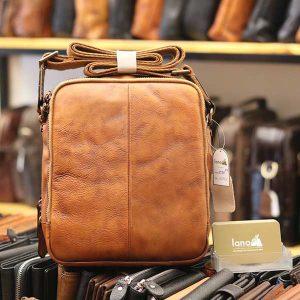 Túi da nam Lano dạng hộp thời trang cao cấp KT91 - nâu vàng