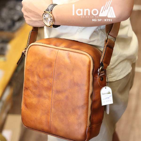 Túi da nam Lano dạng hộp thời trang cao cấp KT91 nâu vàng - đeo vai