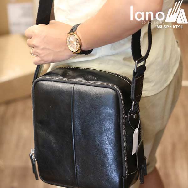 Túi da nam Lano dạng hộp thời trang cao cấp KT91 đen - đeo vai