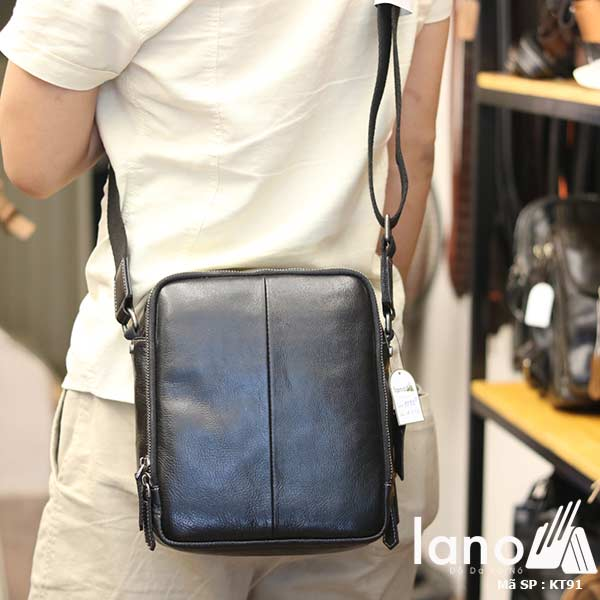 Túi da nam Lano dạng hộp thời trang cao cấp KT91 đen - đeo lưng