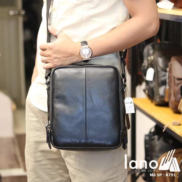 Túi da nam Lano dạng hộp thời trang cao cấp KT91 đen - đeo chéo