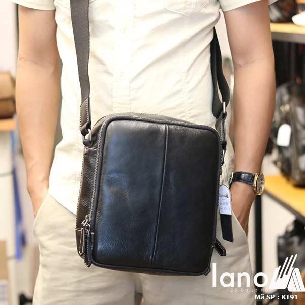 Túi da nam Lano dạng hộp thời trang cao cấp KT91 đen - đeo trước