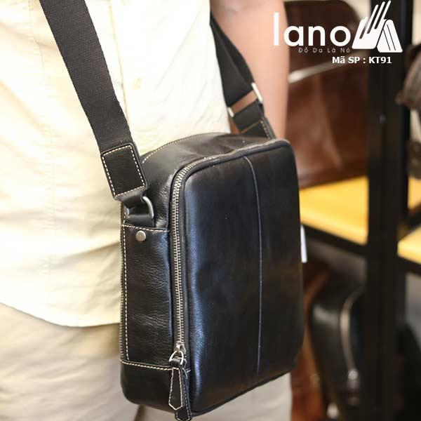 Túi da nam Lano dạng hộp thời trang cao cấp KT91 đen