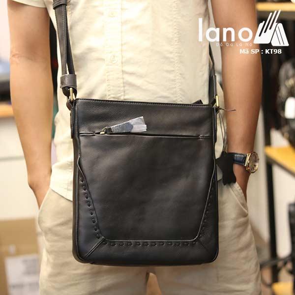 Túi da nam Lano đựng iPad mỏng gọn tiện lợi KT98 - đeo trước